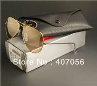 New Fashion Designer sunglasses Gold Brown +Box+Cloth hot selling Free Shipping