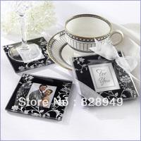 Wedding favor--Timeless Traditon Elegant Black&White Glass Photo Coaster (2pcs/set)
