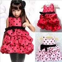 Retail Promotion new 2013 summer girl dresses kids dress girl red and pink girl's princess dress