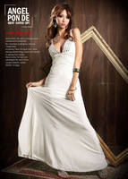 2014 New Fashion Sexy Bridesmaid Dresses Taffeta Sheath  Deep V Collar Crystal Back Cross Long Type Dresses Free Shipping Z135