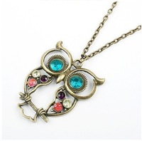 Hot Sale Antique Coloured Rhinestone Carved Owl Pendant Necklaces Sweater Chain Free Shipping Wholesale