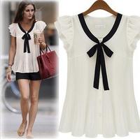 S-XXXL summer fashion shirts women's plus size chiffon shirt short-sleeve top women's blouse 6693