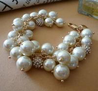 New Fashion j.e.w.e.l crew Pearl-cluster Crystal Fireball Bracelet Gift