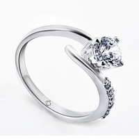 Shining hearts and arrows diamond women's ring lettering diy necklace customize pure silver ring personalized wholsale jewelry