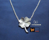Lucky four leaf clover pendant fashion Women 925 pure silver necklace pure silver necklace handmade