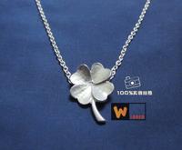 Lucky four leaf clover pendant fashion Women 925 pure silver necklace pure silver necklace handmade