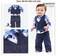 HB191 Gentleman style children clothes set/3-piece: plaid shirt+ blue vest+ blue pants/Autumn latest design/wholesale retail