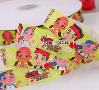 "Free shipping1""25mm Jake Never land PirateGROSGRAIN  polyester Grosgrain ribbon gift package DIY hairbow"