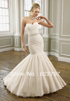 Custom Made 2013 New Style Sweetheart Court Train Ivory Satin with Beading Lace Open Back Mermaid Wedding Dress