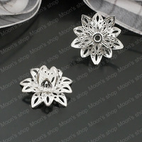 Wholesale 16*8mm Silver 3D flowers Copper Bead Caps Findings/Accessories (J-M3544)
