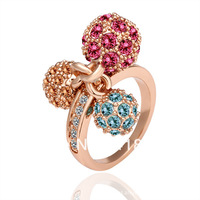 Freeshioping ( Min.Order Is $10 )  2013 fashion lovely rose gold colored crystal ball crystal jewelry brand rings for women
