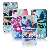 1pcs free shipping Luxury adi brand logo thin design cover case For iphone 4 4s