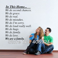 Wholesale We Are A Family Wall Quote Decal Stickers Decor Living Room Lettering Saying Wall Art Decal Sticker