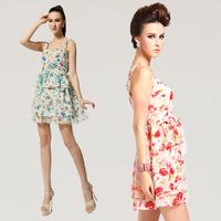 Fashion new 2013 summer slim tank  sleeveless basic short skirt beach  chiffon    sexy dress