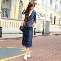 2013 spring and summer denim  women's slim waist water wash  slim hip slim medium-long  beach maxi floor length sexy dress