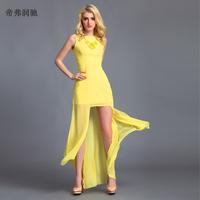 FreeShip 2013 placketing fashion ultra long    women's summer  length formal  long design  beach maxi floor length sexy dress