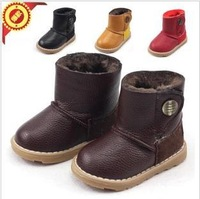 2013 winter Children's snow boots boys and girls leather kids boots  waterproof heat preservation cotton shoes 21-37