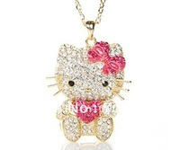 Free Shipping,hello kitty wholesale,hello kitty necklace cheap,cute hello kitty in red bow free jewelry gift-12pcs/lot J00154