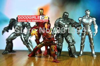 Marvel Comics dolls IRON MAN 3 Avengers Tony Stark figure set 5pcs/lot fighting ver. pvc free shipping