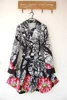 Free shipping new Desigual spring and autumn large large size women thin printed women's coats Jacket sz:38,40,42