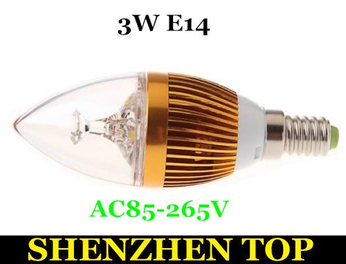 E14 E27 base fitting Dimmable 3w AC85-265V warm /cold white LED candle bulb corn light Free shipping(China (Mainland))