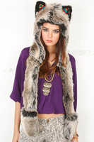 Fur hat animal cap grey ear fashion performance props ty911