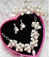 100%new       Korean bridal jewelry bridal sets of chain necklace earrings wedding accessories jewelry Crown Headwear Parure
