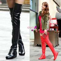 Women's  autumn and winter  fashion trend  sexy  over-the-knee  high-leg increasing  flat heel boots big size shoes Y124