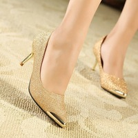 New Arrival Metal/Pointed Toe Mid Heel Shoes OL Female Career Shoes Pumps X506 Black&Gold