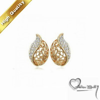 Free Shipping+2 Colors Lovesickness Leaf Hollow Crystal Earrings With SWA Elements Austrian Crystal Fit For The Evening Dress