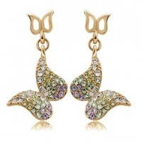 Earrings 18K Gold Plated Fashion Jewelry Made with Austrian Crystal SWA Elements Wholesale