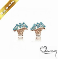 Free Shipping 18K GP Austrian Crystal Basket Shape  Earrings Fashion crystal Jewelry+6 Colors