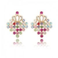 Crown Graceful Crystal Pendant Earrings With Colorful Rhinestone SWA Elements Austrian Crystal Every Day Jewelry 4 colors