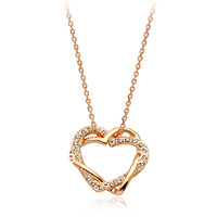 Italina Rigant Rhinestone Ziron Studded Iced Out and 18K Gold Plated Twist Double Hearts Pendant Necklace Free Shipping