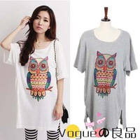 2013 summer loose Plus big size clothing long thin irregular cotton t shirts owl patterns short-sleeve Tees For Fat women Ladies
