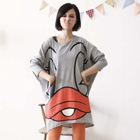 Spring and summer 2013 basic plus big size batwing shirt long design loose fat women's clothing ladies dress