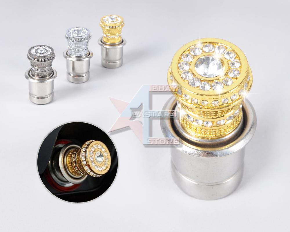 Free shipping & Tracking # 12V Crystal Rhinestones Car Power Plug Socket Output 20mm Cigarette Lighter Ignition - CA01398(China (Mainland))