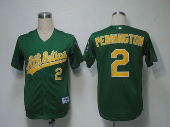 MLB Athletics Oakland Cliff Pennington  #2 Green Cool Base Baseball Jerseys Authentic On Field Jersey Free Shipping