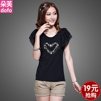 Mm plus size clothing 2013 summer new arrival loose t-shirt chiffon slim casual fashion