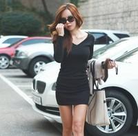 2015 new all match dress design slim hip dress long sleeve V-neck Dresses for women sexy party prom
