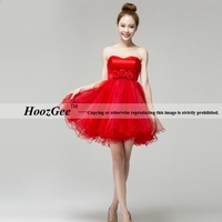 A-Line Strapless Lace-up Organza Dress For Party Gown Homecoming Dress With Flowers HoozGee 23791