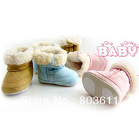 1 Pair Cute Infant Baby Boys Girls Winter Boots Toddler Fur Cotton Snow Shoes M/L/XL  Blue/Pink/Khaki
