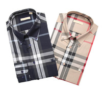 2 Color Men's Fashion Long Sleeve Casual Shirts,Top-grade Cotton Checked Shirts,Branded Full Shirts
