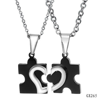 Wholesale Fashion Accessories for Lovers Stainless Steel Heart Shape Pattern Jigsaw Puzzle Pendant Necklace Set Free Shipping