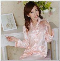 Free shipping  Suzhou best quality Silk Pajamas  noble embroidered women's long-sleeve sleepwear set  girlfriend wife Gift