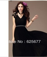 Elegant long fashion women party dresses black nude lace beads short sleeve cheap prom pageant gorgeous formal evening gowns
