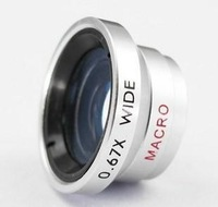 2 in 1 Magnetic Detachable 0.67X Wide Angle Lens + Macro Lens Mobile Phone Lens For Mobile Phone Iphone 4 4S 5 Samsung HTC