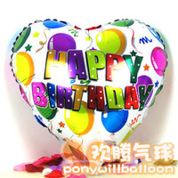 Free Shipping Happy Birthday Heart Shape Balloons Filled Helium Gas Using Party&Wedding Occasion