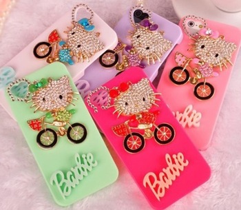 Best price , Handmade lovely and beautiful bling diamond 3D rhinestone luxury fashion Case cover   For iphone 4 4s