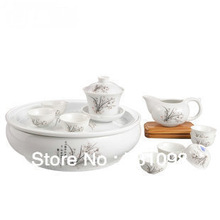 Free shipping,  14pcs porcelain tea sets, hand-made products, white ceramic with flowers, 5 flower available